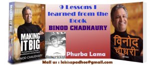 """9 Lessons I learned from the book """"BINOD CHADHAURY"""""""