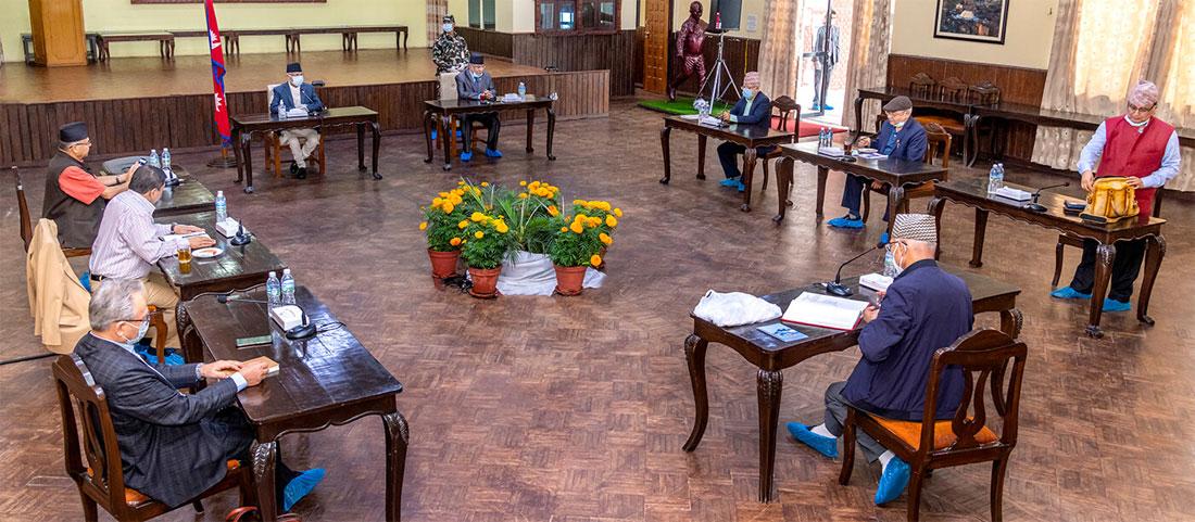 नेकपा सचिवालयकाे बैठक बालुवाटारमा जारी
