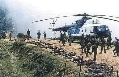 २०५८ असारमा २३ मा लमजुङको बिचौरमा माओवादीसँगको भिडन्तमा मारिएका प्रहरीहरू ।