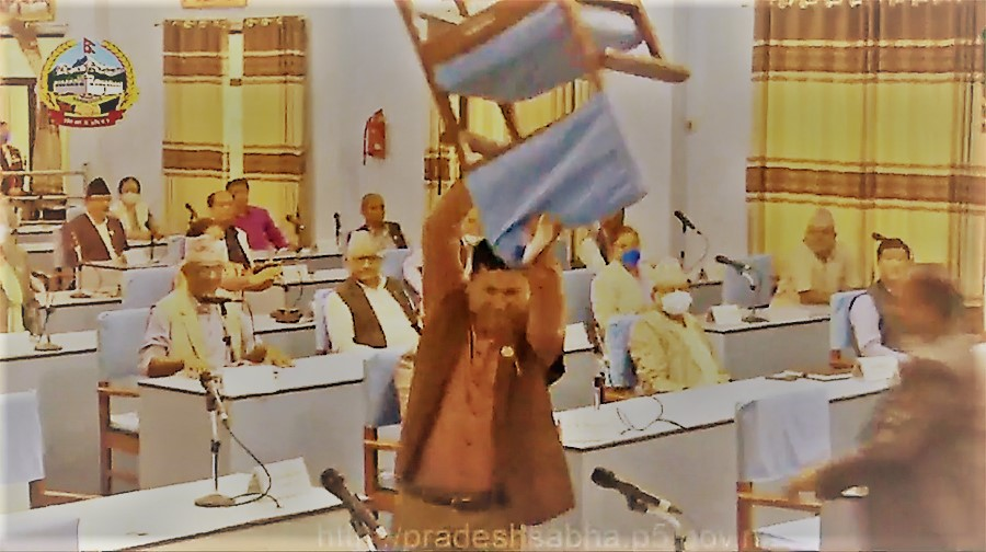 प्रदेश ५ को प्रदेश सभा बैठकमा कांग्रेस सांसदले गरे तोडफोड