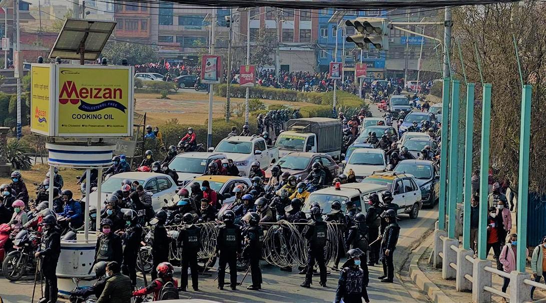 नेकपा (प्रचण्ड–माधव) समूहकोको प्रदर्शनले काठमाडौंमा सवारी अस्तव्यस्त