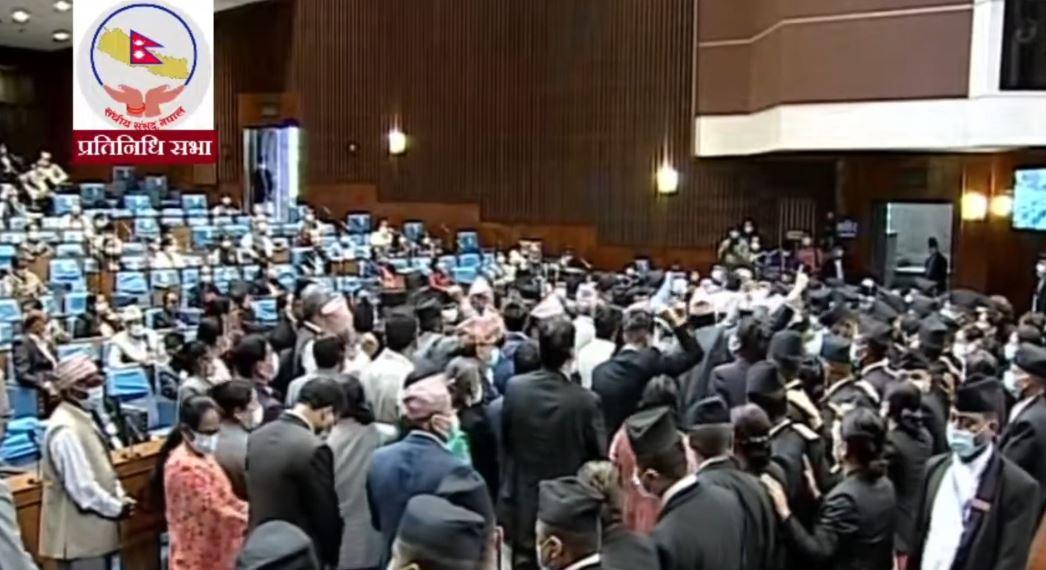 संसद बैठक शुरु हुनासाथ एमालेको अवरोध; बैठक १५ मिनेट स्थगित